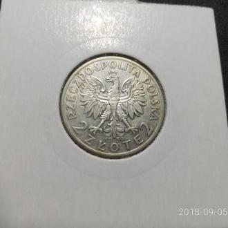 Польша 2 злотых 1934 Серебро Сохран! Из коллекции!