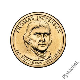 1 доллар Томас Джефферсон 3 -й президент США 2007 г