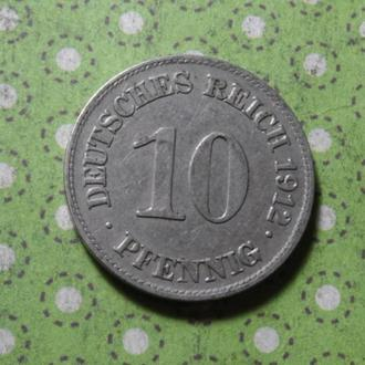 Германия 1912 год монета 10 пфеннигов E