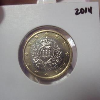 монета 1 евро 2014 сан-марино №11411