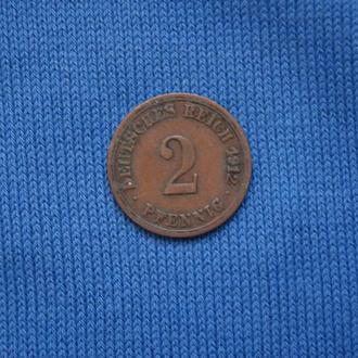 Германия 2 пфеннига 1912 г A