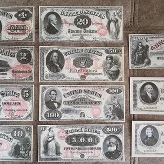 Качественные копии банкнот США  c В/З 1878 год. супер скидки!!!