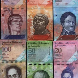 Венесуэла 6 банкнот - 2-5-10-20-50-100 Боливаров