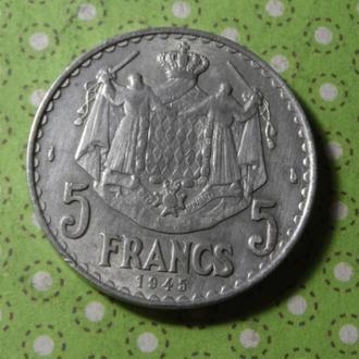 Монако 1945 год монета 5 франков !
