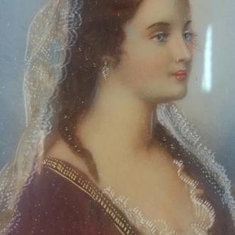"""Старинная картина, Миниатюрный портрет """"Лукреция"""", Италия"""