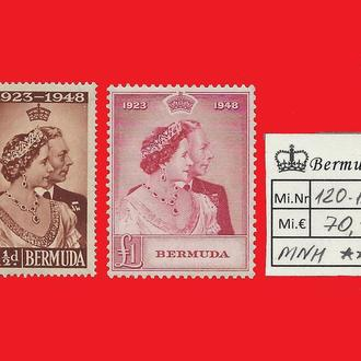♔ Британские колонии ♔ BERMUDA ♔ Бермуда ♔ Silver Jubilee Mi.120-121 Є70 ♔ 1948 ♔ MNH ♔ Полная серия