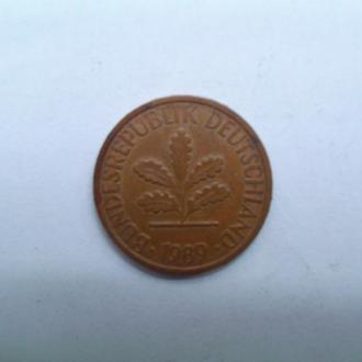 Монета Германии 1989г. 1 пфенинг