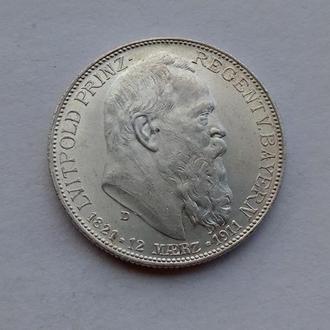 1911 г - 2 марки Германия,Бавария,UNC,серебро № 2
