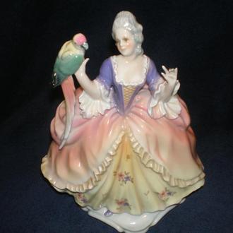 Фарфоровая статуэтка. Карл Энс. Оригинал. Дама с попугаем.