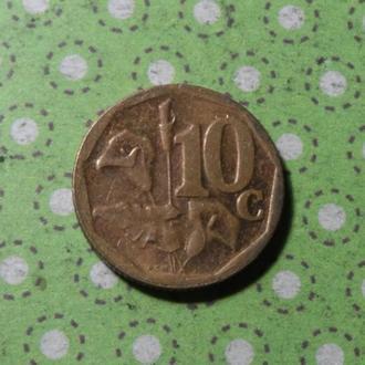 ЮАР 2015 год монета 10 центов Африка ПАР !