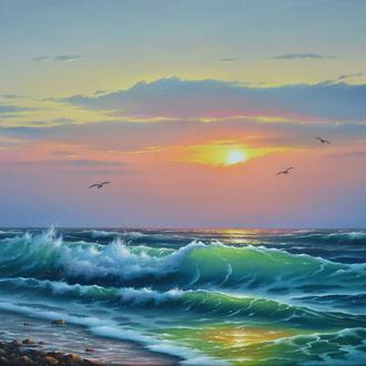 Волна в лучах солнца 35х50