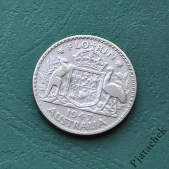 Австралия 1 флорин 1947 г серебро №2
