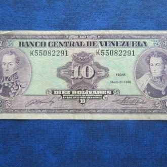 Банкнота 10 боливаров Венесуэла 1990