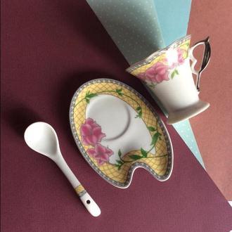 Чашка и блюдце + ложечка YAMASEN gold collection Япония фарфор