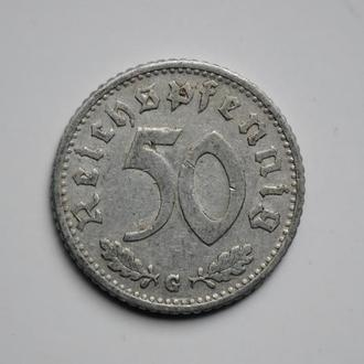 Германия 50 рейхспфеннигов 1940 г. G, РЕДКИЙ МОНЕТНЫЙ ДВОР