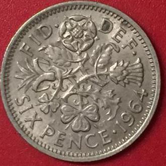 6 пенсов 1964 год Великобритания