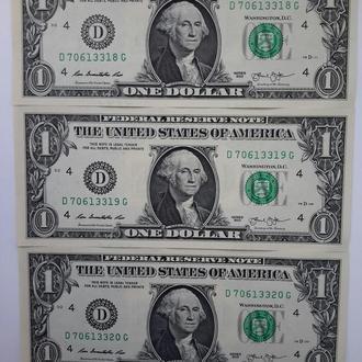 США. 1 доллар  2013 год. Кливленд. UNC. Три банкноты. Номера подряд.
