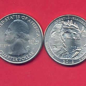 Монеты Америка США  25 центов 2018 г. Висконсин.