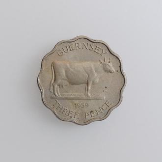 """Гернси 3 пенса 1959 г., UNC, """"Королева Елизавета II (1953 - 1967)"""""""