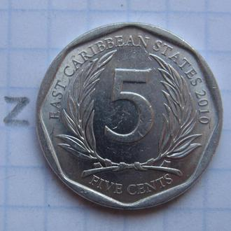 ВОСТОЧНО-КАРИБСКИЕ ГОСУДАРСТВА, 5 центов 2010 года.