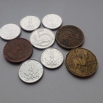 Чешские кроны (коруны) 1990-2000-ых гг, 9 монет