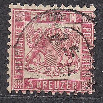 Баден, 1862г., немецкие земли, марка  № 18