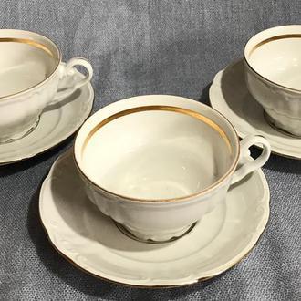 Чайные пары Классика. 3 пары. Фарфор из Германии.