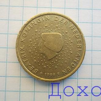 Монета Нидерланды Nederlanden 50 евроцентов euro cent 1999