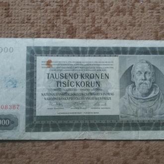 ПРОТЕКТОРАТ БОГЕМИЯ И МОРАВИЯ 1000 крон 1942 год