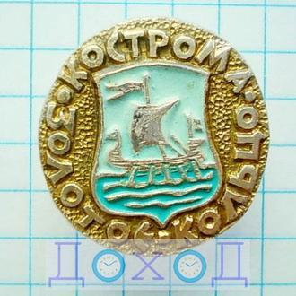 Значок Кострома Золотое кольцо герб круглый №1