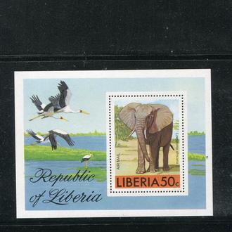 ЛИБЕРИЯ 1976 ** ФАУНА СЛОН ПТИЦЫ
