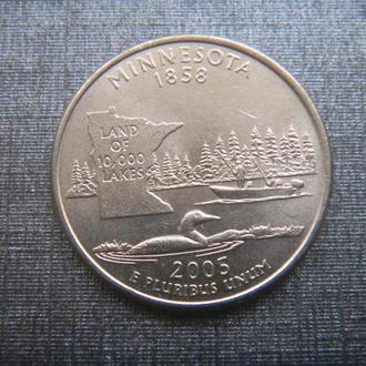 США 25 центов Миннесота D 2005 (RL101)