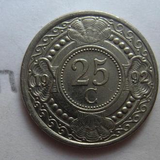 НИДЕРЛАНДСКИЕ АНТИЛЬСКИЕ ОСТРОВА 25 центов 1992 года.