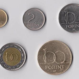1, 2, 10, 100, 100 ФОРИНТОВ = 1992, 1993, 1994, 1995, 1998 гг. = ВЕНГРИЯ = 5 монет #