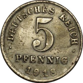 Німеччина 5 Pfennig 1918 D