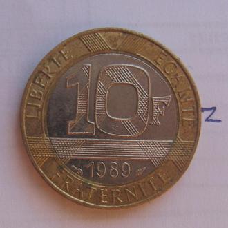 ФРАНЦИЯ 10 франков 1989 года (биметалл).