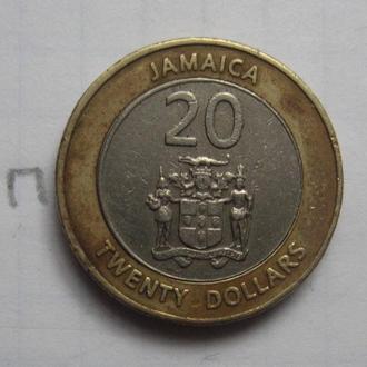 ЯМАЙКА 20 долларов 2000 г. (БИМЕТАЛЛ).