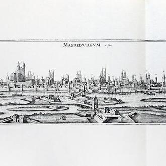 Старинная гравюра на бумаге верже Вид на Магдебург, 1653, M. Merian