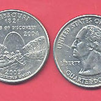 Монеты Америка США  25 центов 2003 г. Миссури.