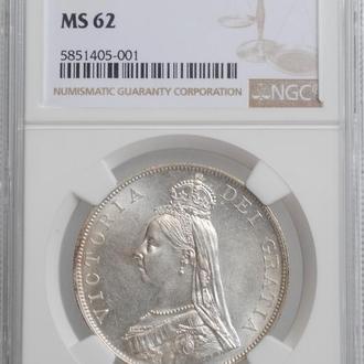 """Великобритания 4 шиллинга (2 флорина) 1888 г., NGC MS62, """"Королева Виктория (1838 - 1901)"""""""