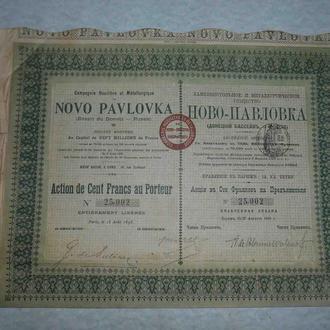 НОВОПАВЛОВКА 1898 Металлургическое общество АКЦИЯ