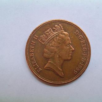 Монета Великобритании 1989г. 2 пенсов