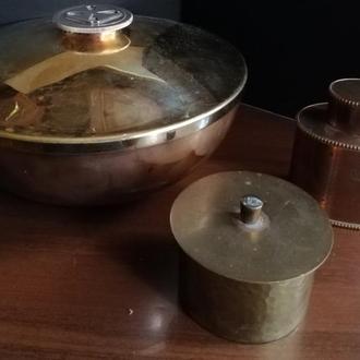 Сахарница, шкатулка и шкатулка - декоративная металлическая посуда