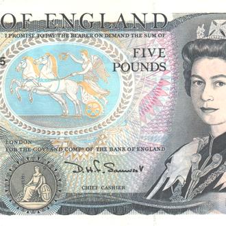 Великобритания 5 фунтов 1980-1987гг. в UNC