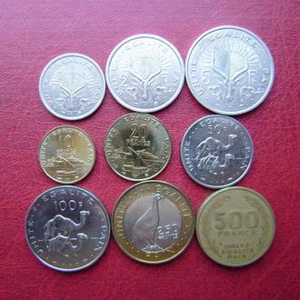 Джибути набор монет 1991 - 2012. 9 монет