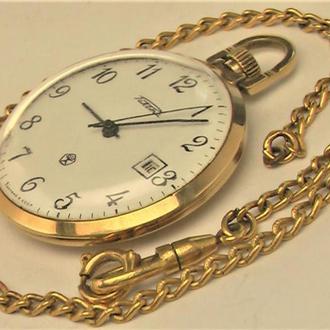 Часы Ракета календарь позолота Au 20 (без клейма) рабочие от часовщика + цепочка позолота