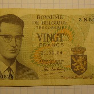 Бельгия 20 франков - 1964