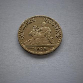 1922 рік Франція Франция 50 сентімов 50 сентімів 50 centimes 1922 год. Відмінний колекційний стан.