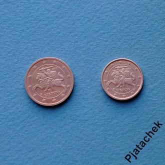 Литва 1 цент и 2 цента  1 и 2 евроцента