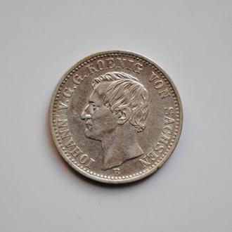 Саксония 1/6 талера 1861 г., XF-UNC, 'Король Иоганн (1854 - 1873)'